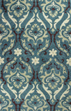 KAS Anise 2411 Teal Damask Hand Hooked Area Rug