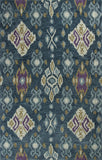 KAS Anise 2412 Blue Allover Ikat Hand Hooked Area Rug