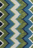 KAS Anise 2420 Blue/Green Chevron Hand Hooked Area Rug