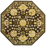 LR Resources Antigua 80990 Brown/Green Machine Loomed Area Rug 7' 9'' X 7' 9'' octagon