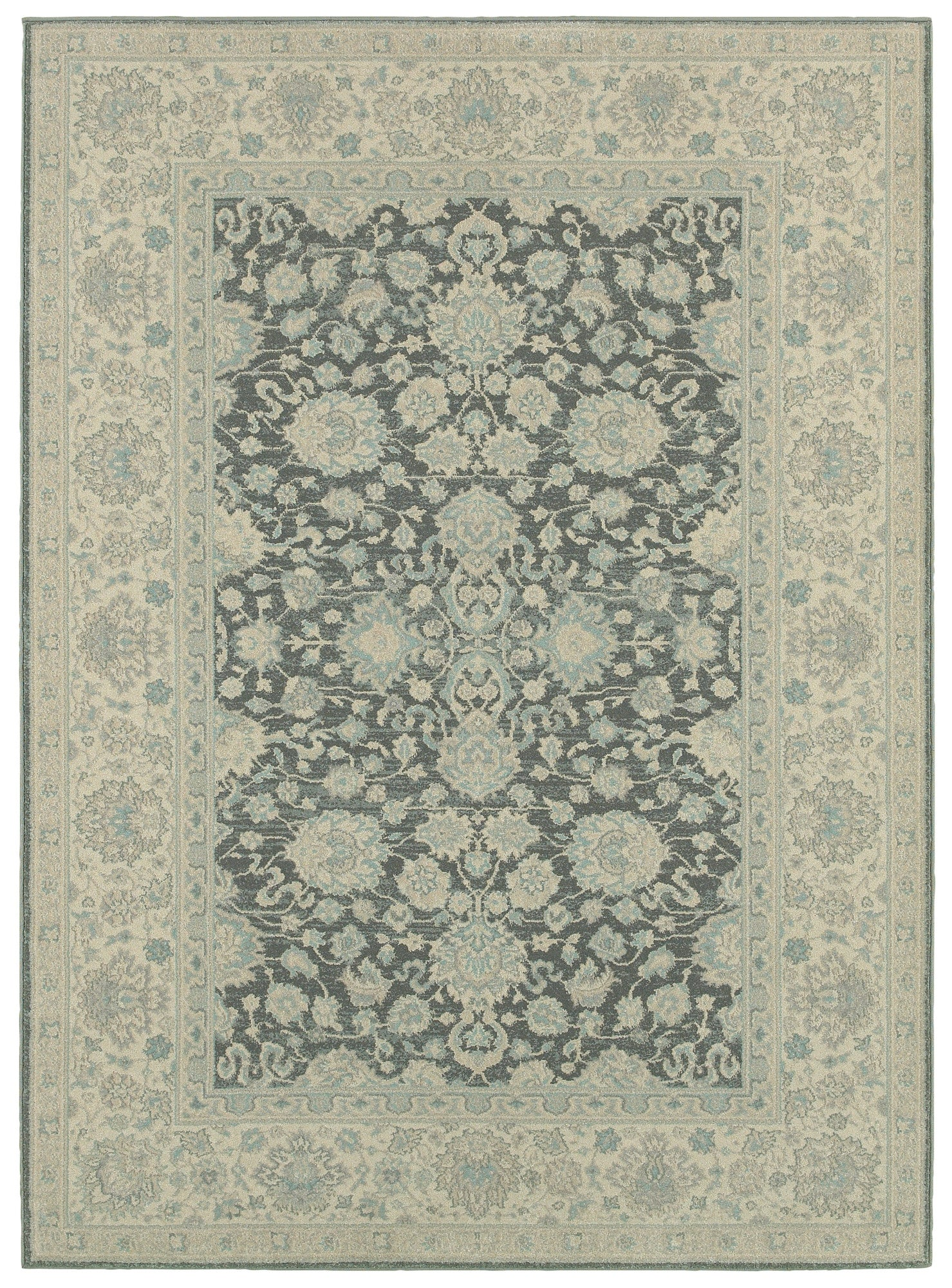LR Resources Antigua 80997 Silver/Blue Area Rug