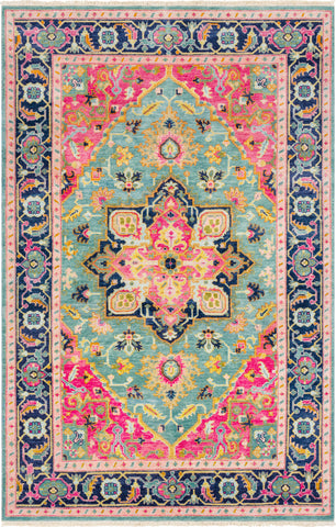 Surya Antique ATQ-1015 Teal Bright Pink Navy Sea Foam Peach Tan Saffron Aqua Area Rug main image