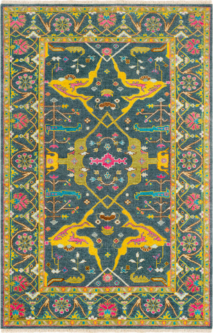 Surya Antique ATQ-1016 Navy Mustard Olive Bright Pink Dark Brown Aqua Wheat Blue Area Rug main image