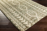Surya Bjorn BJR-1002 Olive Hand Knotted Area Rug by Jill Rosenwald 5x8 Corner