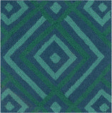 Surya Brentwood BNT-7704 Teal Hand Hooked Area Rug 16'' Sample Swatch