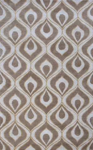 KAS Home 1020 Beige Eye Of The Peacock Hand Tufted Area Rug by Bob Mackie