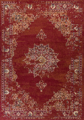 KAS Home Vintage 1300 Burnt Red Medallia Machine Woven Area Rug by Bob Mackie