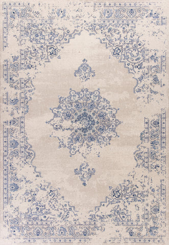 KAS Home Vintage 1303 Sky Blue Medallia Machine Woven Area Rug by Bob Mackie