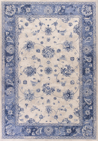 KAS Home Vintage 1307 Grey/Sky Blue Mahal Machine Woven Area Rug by Bob Mackie