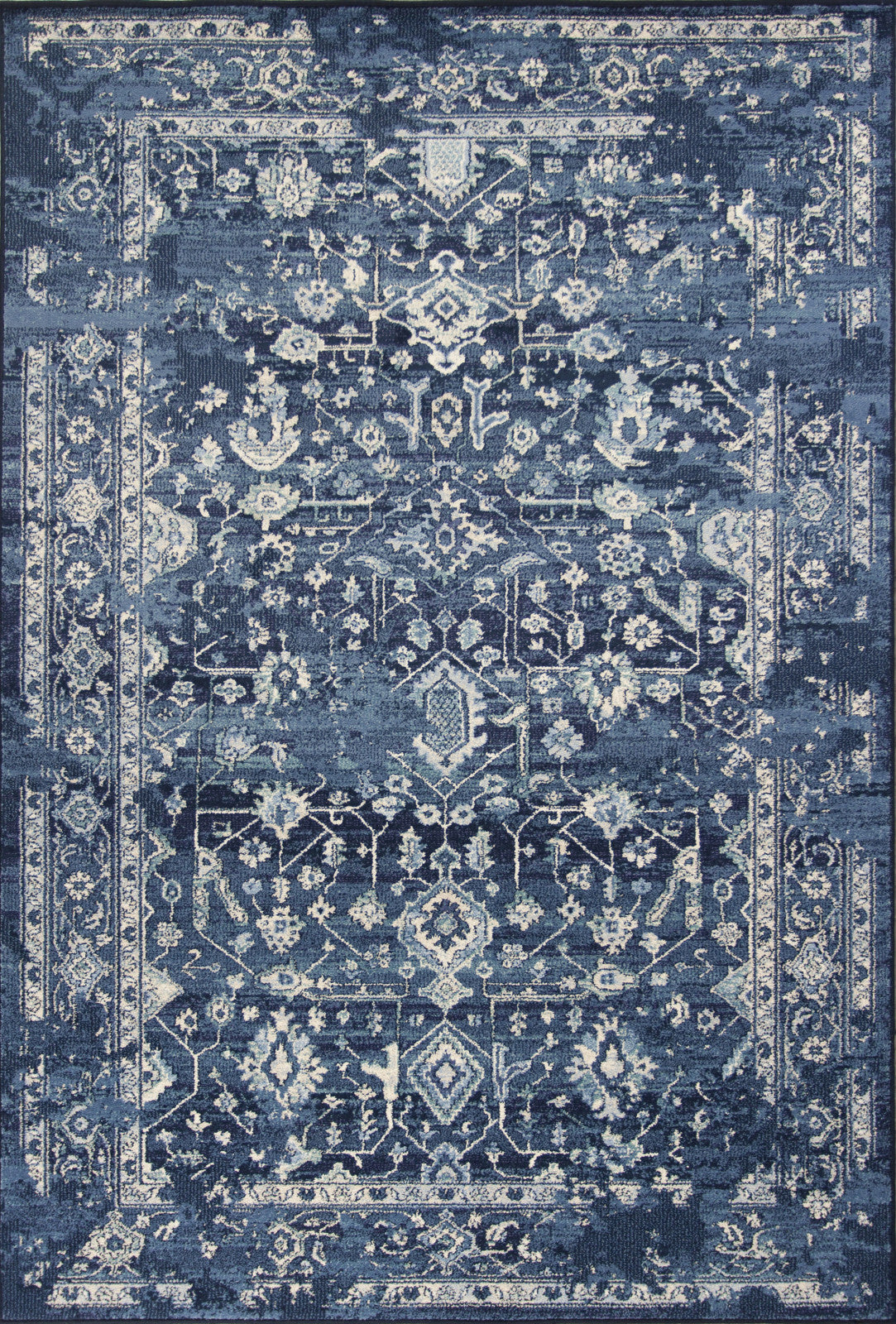 KAS Home Vintage 1310 Azure Blue Marrakesh Machine Woven Area Rug by Bob Mackie