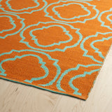 Kaleen Brisa BRI07-89 Orange/Aqua Area Rug Close-up Shot