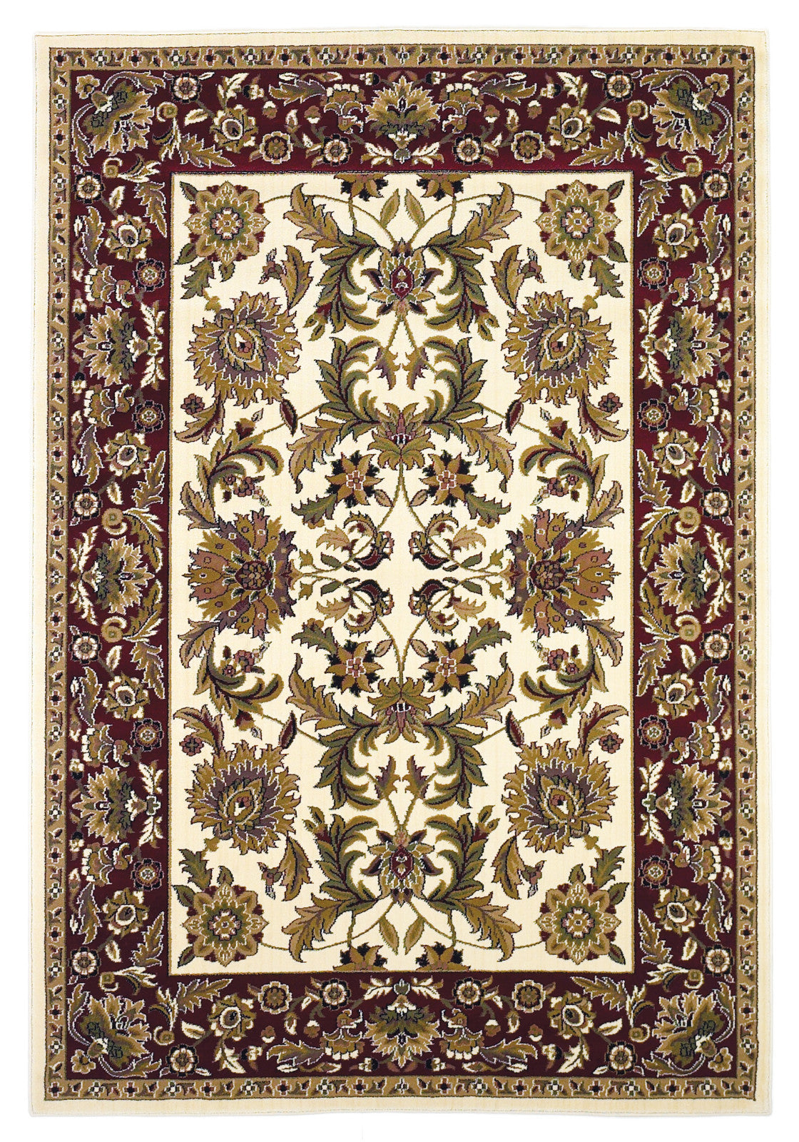 KAS Cambridge 7303 Ivory/Red Kashan Machine Woven Area Rug