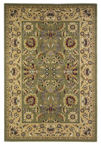 KAS Cambridge 7304 Green/Taupe Kashan Machine Woven Area Rug