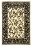 KAS Cambridge 7310 Ivory/Black Floral Ribbons Machine Woven Area Rug