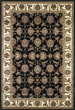 KAS Cambridge 7313 Black/Ivory Kashan Machine Woven Area Rug