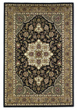 KAS Cambridge 7327 Black/Beige Kashan Medallion Machine Woven Area Rug