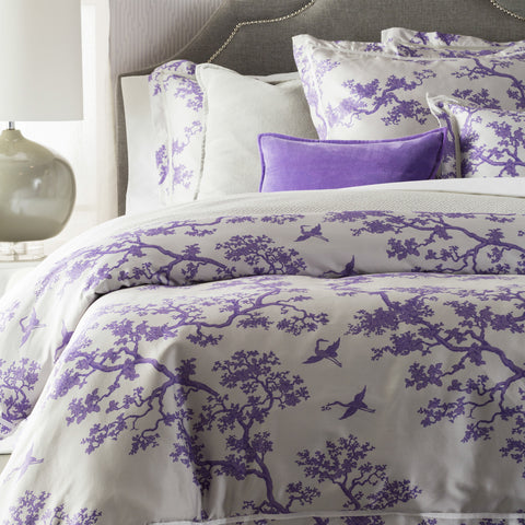 Surya The Crane CFB-2001 Purple Bedding by Florence Broadhurst