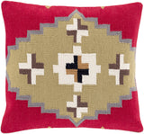 Surya Cotton Kilim Taken with Tribal CK-002 Pillow 18 X 18 X 4 Down filled