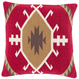 Surya Cotton Kilim Taken with Tribal CK-003 Pillow 18 X 18 X 4 Poly filled