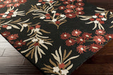Surya Cannes CNS-5410 Black Hand Hooked Area Rug by Paule Marrot 5x8 Corner
