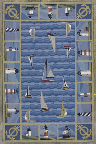 KAS Colonial 1335 Blue Light Houses Hand Hooked Area Rug