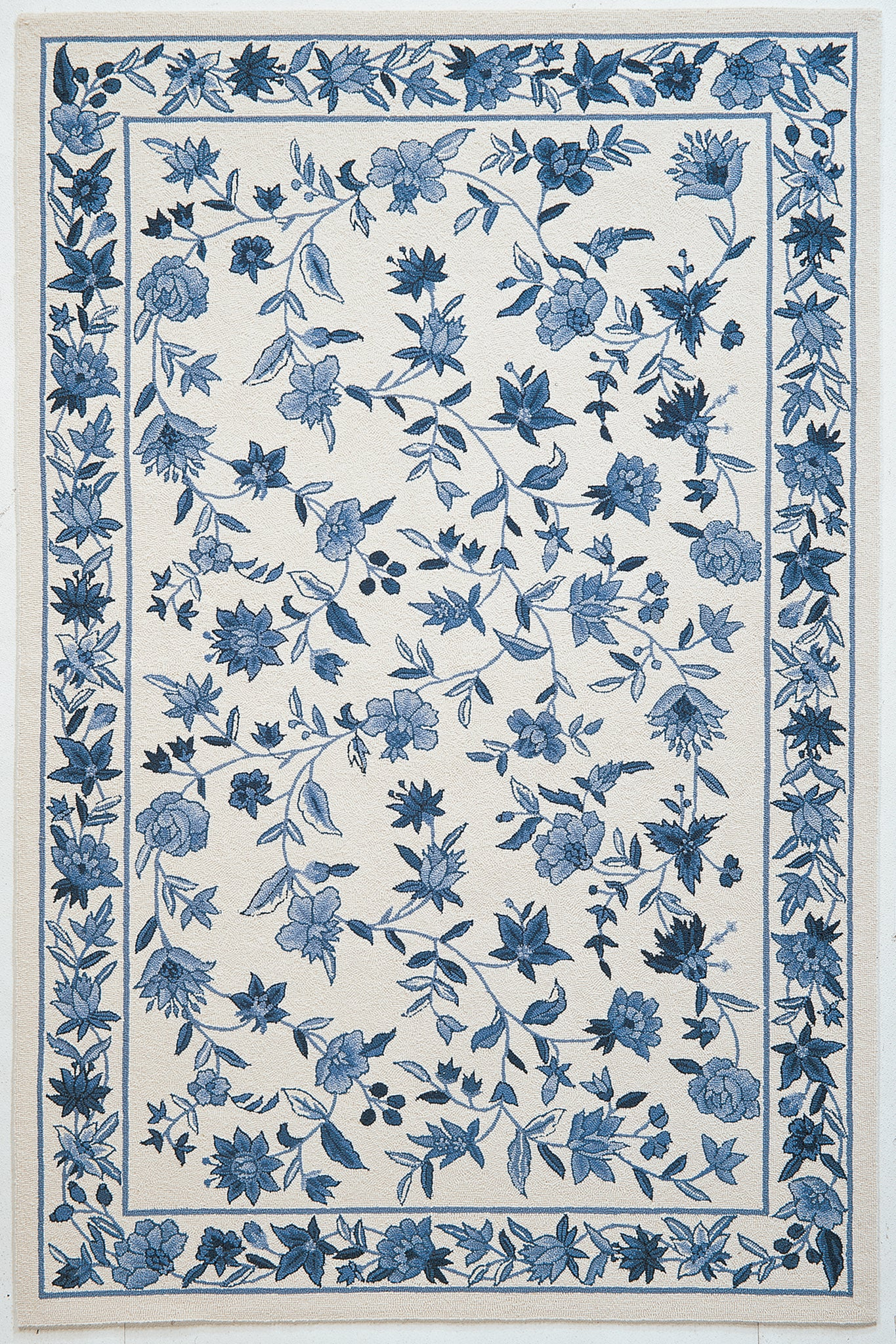 KAS Colonial 1727 Ivory/Blue Floral Area Rug main image