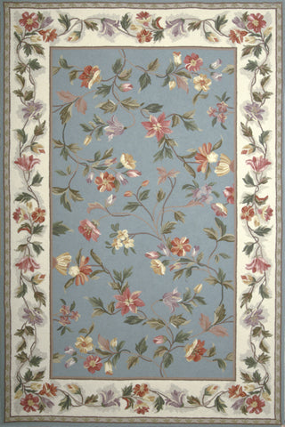 KAS Colonial 1728 Slate Blue/Ivory Floral Hand Hooked Area Rug