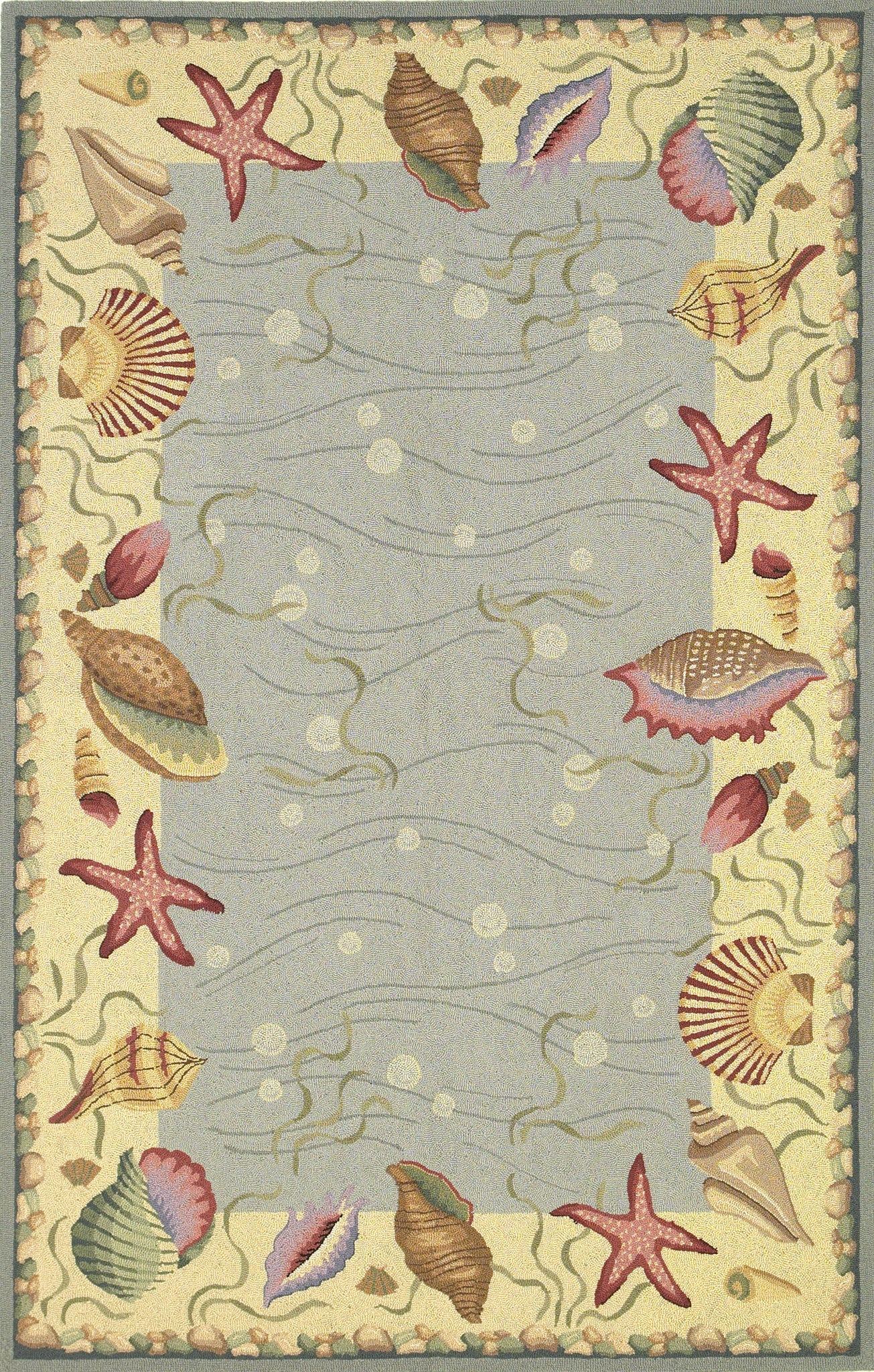 KAS Colonial 1804 Blue/Ivory Ocean Surprise Hand Hooked Area Rug