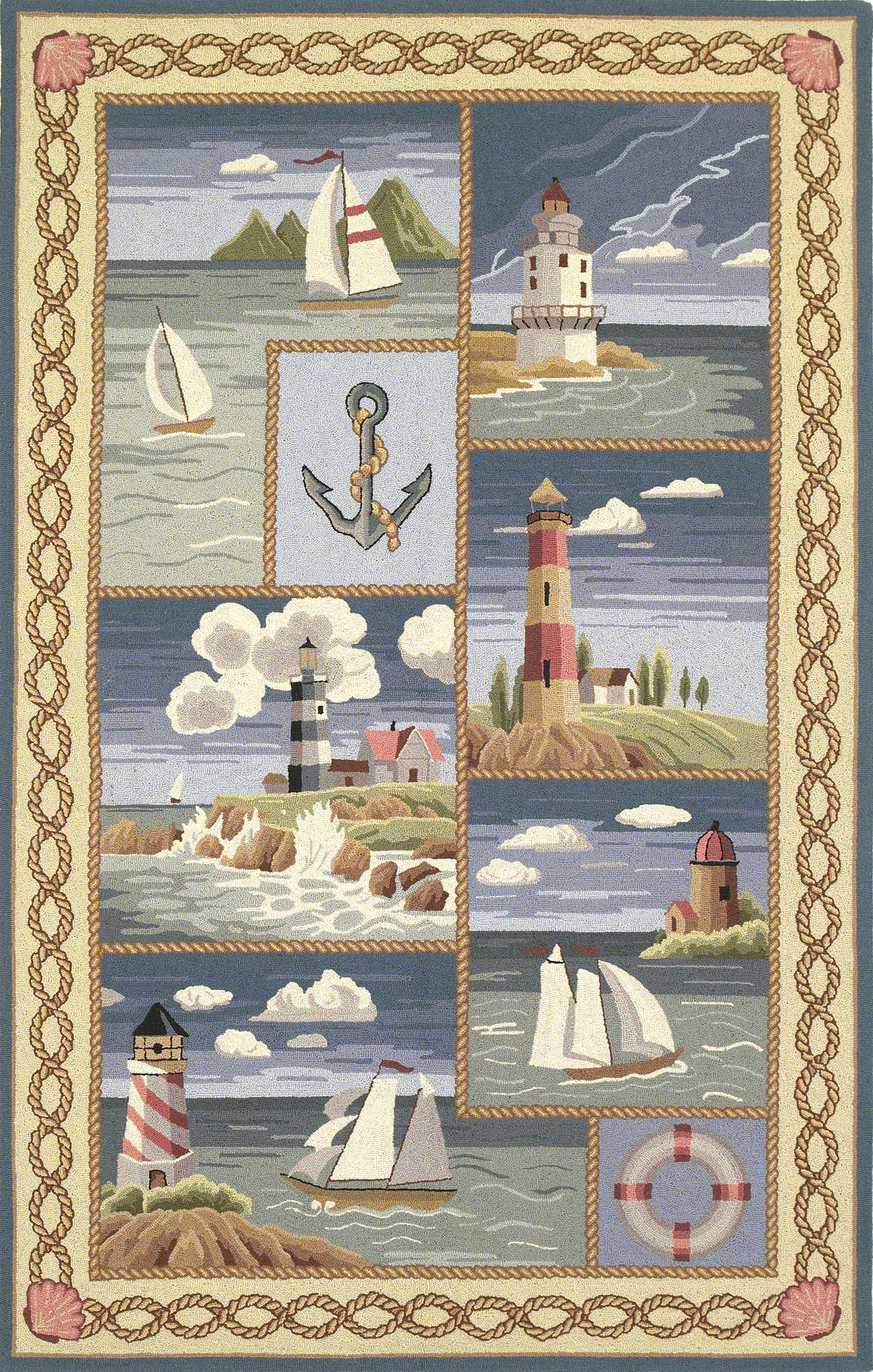 KAS Colonial 1806 Blue Coastal Views Hand Hooked Area Rug