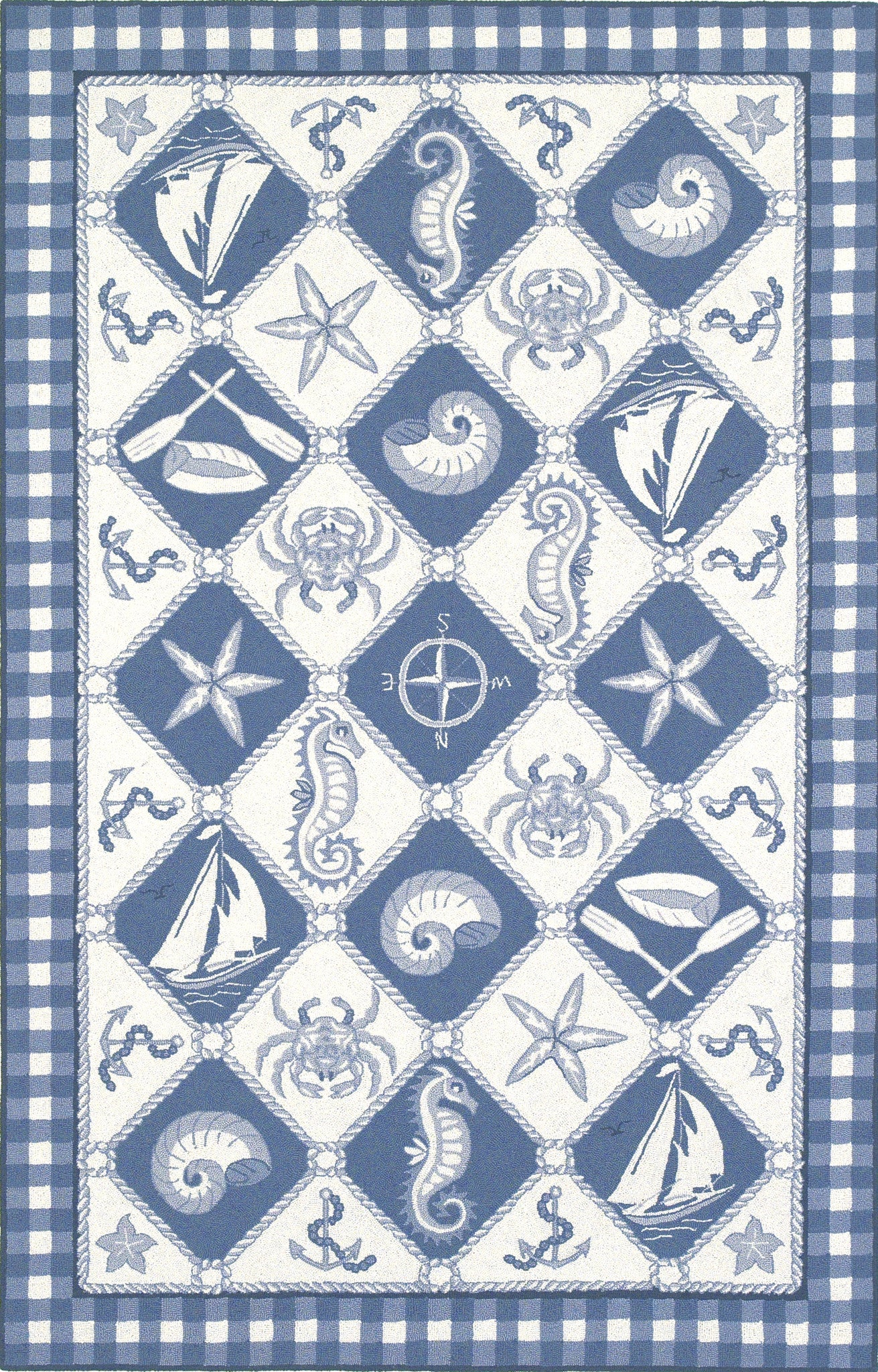 KAS Colonial 1807 Blue/Ivory Nautical Panel Hand Hooked Area Rug