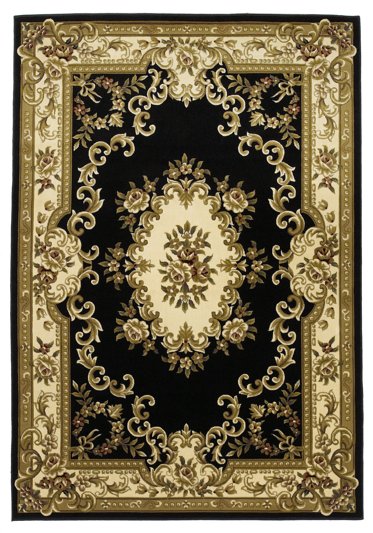KAS Corinthian 5310 Black/Ivory Aubusson Machine Woven Area Rug