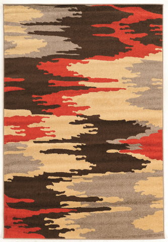Linon Claremont Collection RUGCT04 Brown/Terracotta Area Rug main image