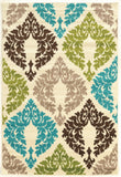 Linon Claremont Collection RUGCT14 Ivory/Turquoise Area Rug main image