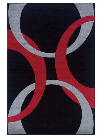 Linon Corfu RUG-CU05 Black/Red Area Rug main image
