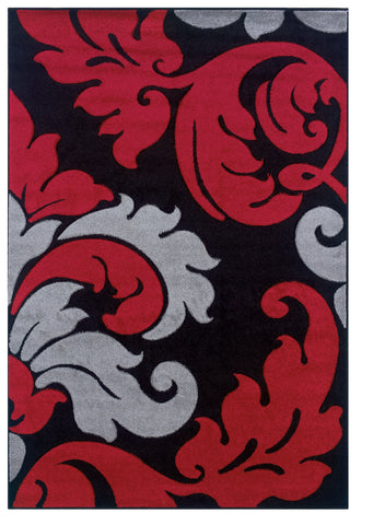 Linon Corfu RUG-CU10 Black/Red Area Rug main image