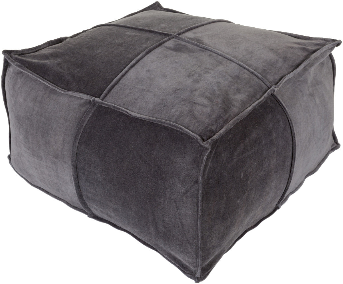 Surya Cotton Velvet CVPF-001 Gray Pouf