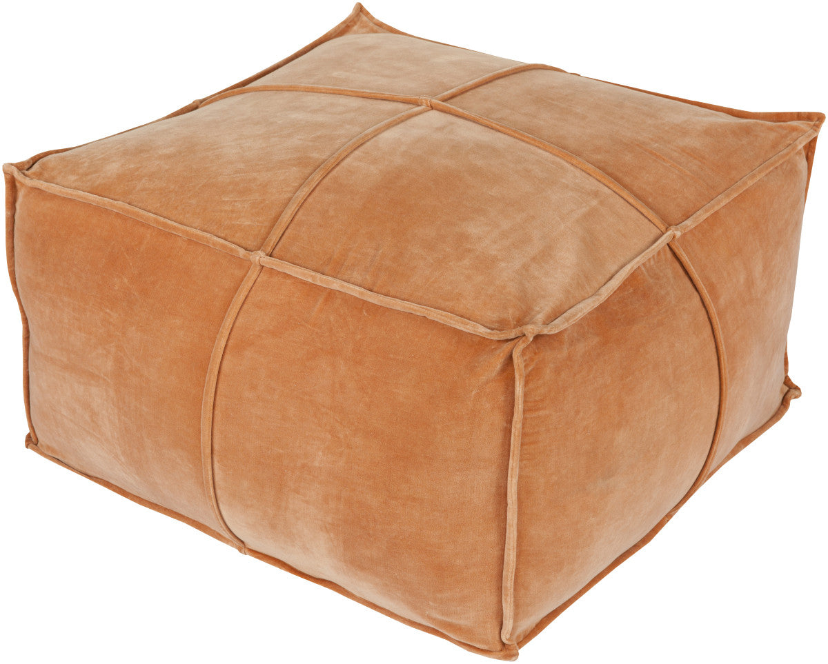 Surya Cotton Velvet CVPF-003 Orange Pouf