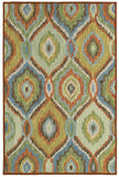 LR Resources Dazzle 54010 Green Multi Hand Hooked Area Rug 5' X 7'9''