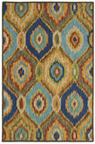 LR Resources Dazzle 54011 Blue Multi Hand Hooked Area Rug 5' X 7'9''