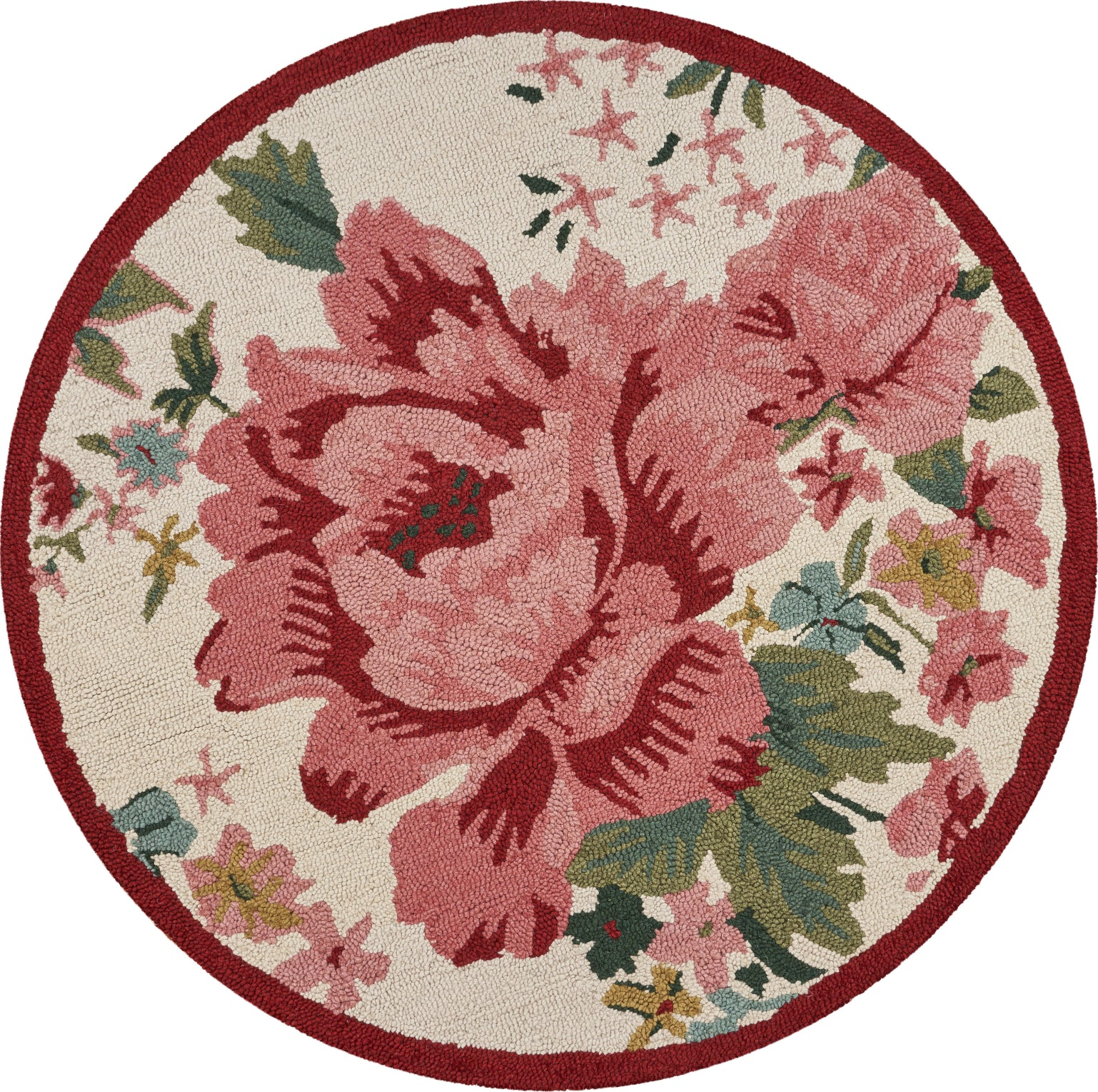 LR Resources Dazzle Rose Garden Cream / Pink Area Rug main image