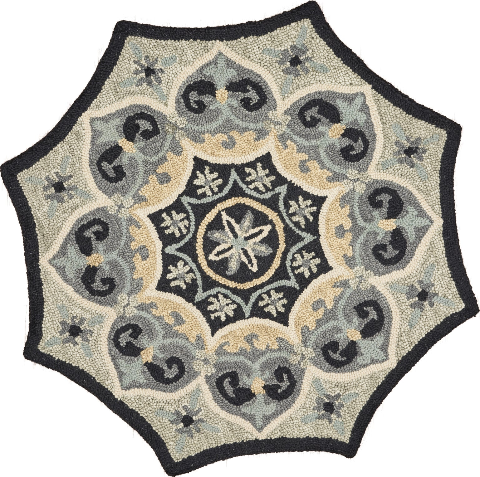 LR Resources Dazzle Medallion Web Charcoal / Grey Area Rug main image