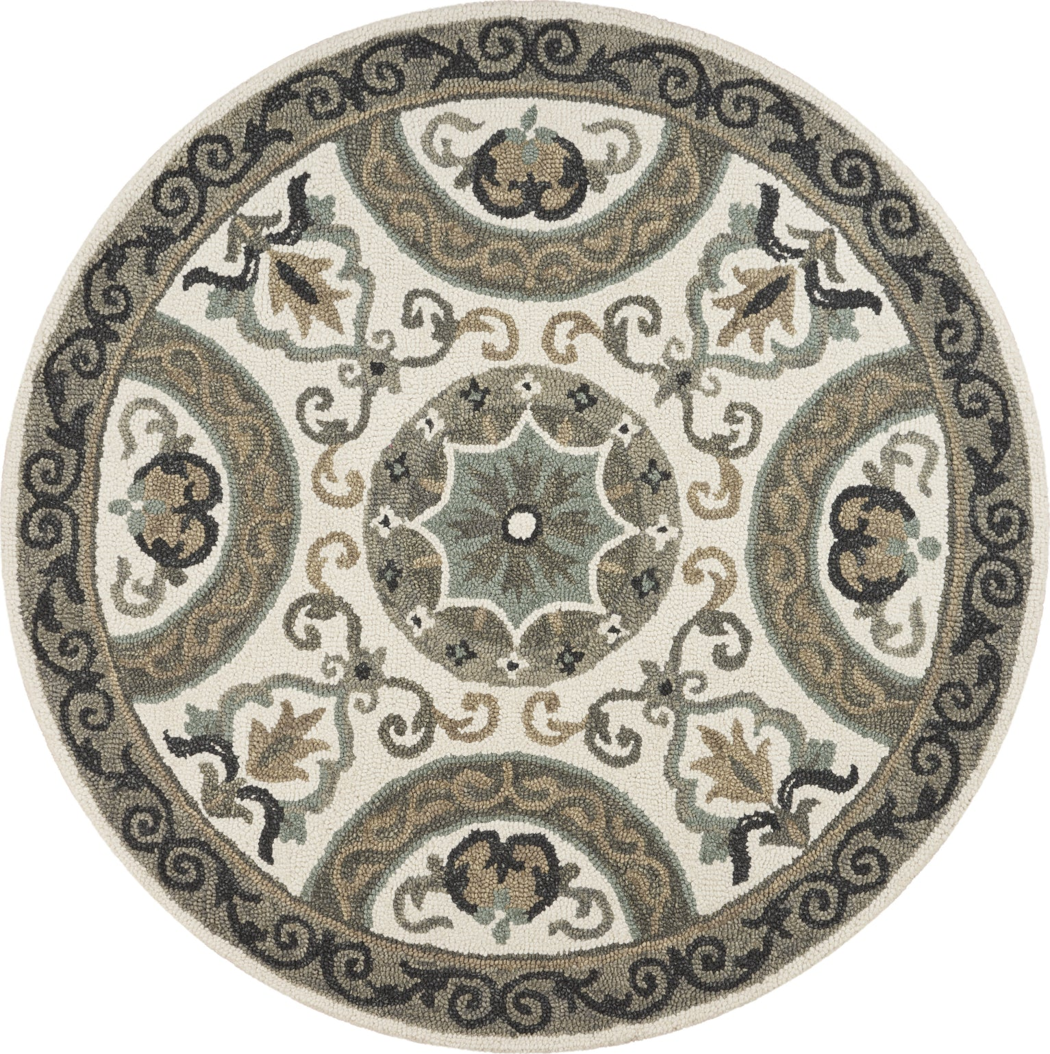 LR Resources Dazzle Elegant Medallion Ivory Gray Area Rug main image