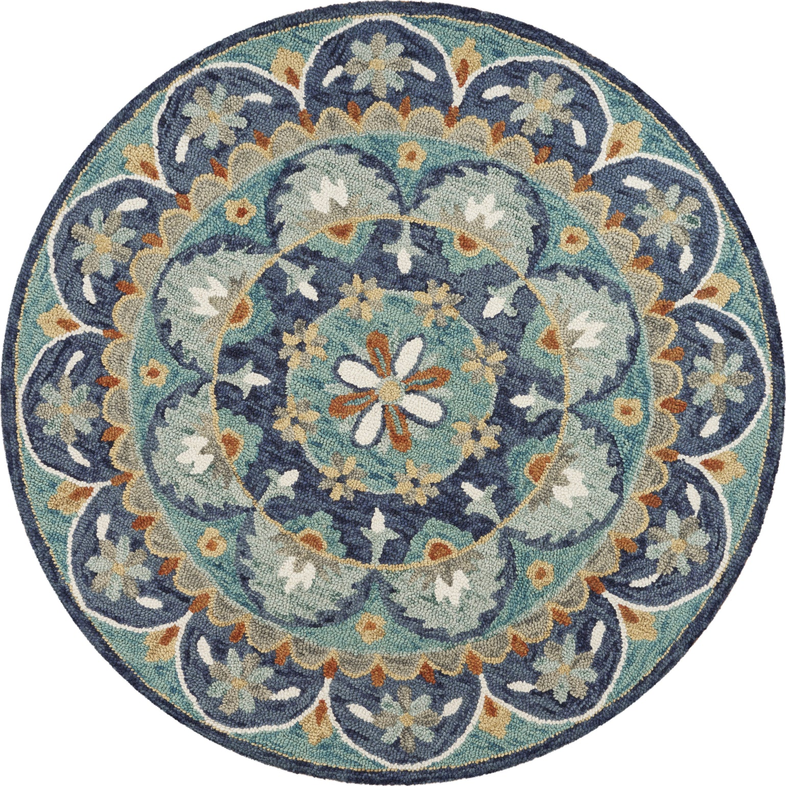 LR Resources Dazzle Floral Spin Teal / Blue Area Rug main image