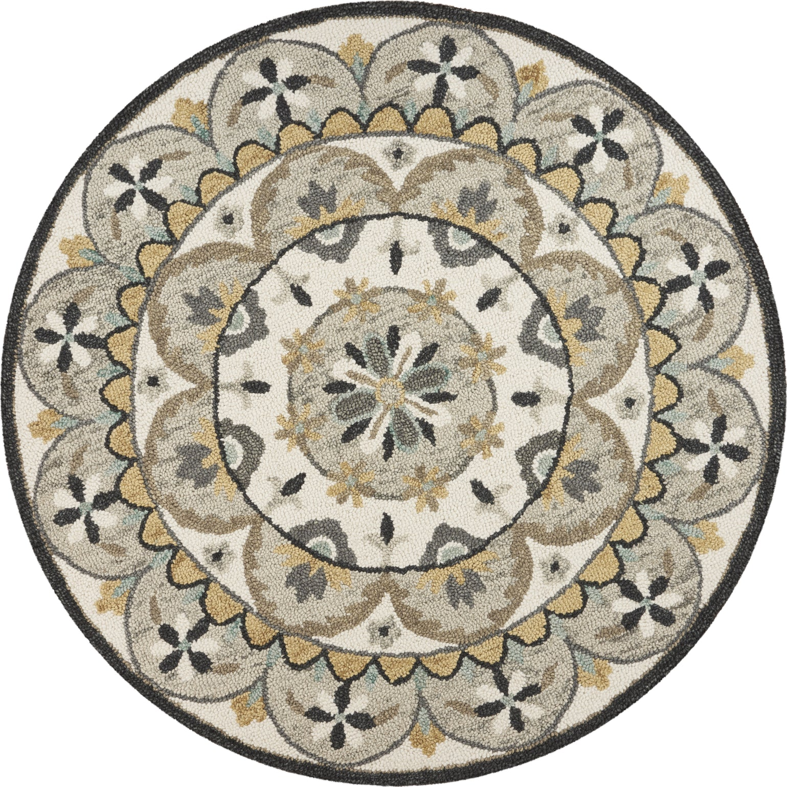 LR Resources Dazzle Floral Awakening Ivory Gray Area Rug main image