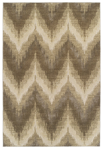 KAS Home Timeless 8006 Champagne Chevron Machine Woven Area Rug by Donny Osmond