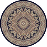 Dynamic Rugs Ancient Garden 57090 Navy Area Rug Round Shot