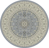 Dynamic Rugs Ancient Garden 57119 Steel Blue/Cream Area Rug Round Shot