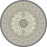 Dynamic Rugs Ancient Garden 57119 Grey/Cream Area Rug Round Shot