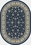 Dynamic Rugs Ancient Garden 57120 Blue/Ivory Area Rug Oval Shot