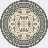 Dynamic Rugs Ancient Garden 57120 Ivory/Light Blue Area Rug Round Shot